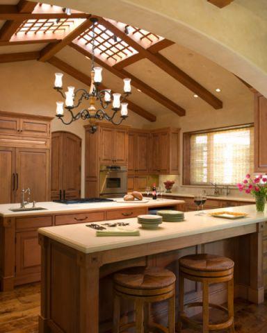 厨房咖啡色橱柜简欧风格装潢效果图
