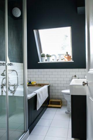 卫生间黑色背景墙简欧风格装修效果图