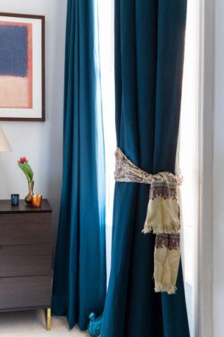 卧室蓝色窗帘混搭风格装饰效果图