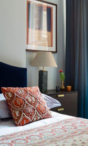 卧室黑色床头柜混搭风格装潢效果图