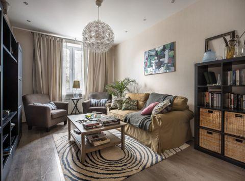 客厅米色背景墙混搭风格装饰设计图片