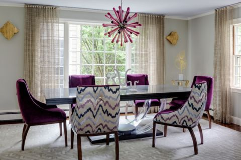 餐厅紫色灯具混搭风格装潢效果图