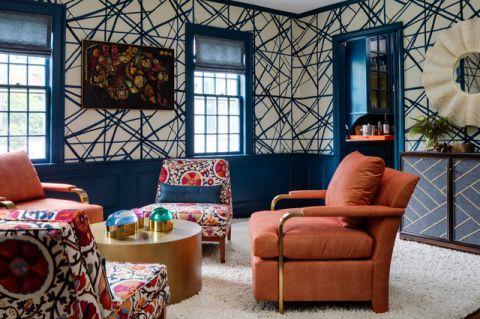 客厅蓝色背景墙混搭风格装修图片