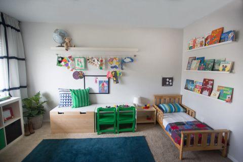 儿童房白色背景墙混搭风格装饰图片