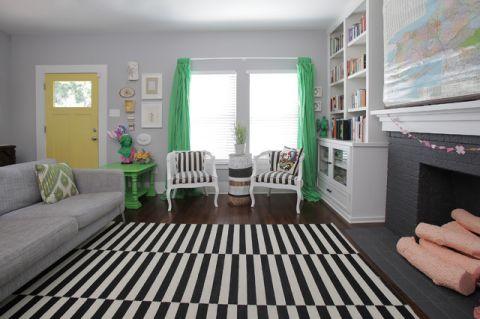 客厅绿色窗帘混搭风格装潢效果图