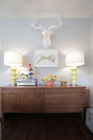客厅蓝色背景墙混搭风格装饰图片