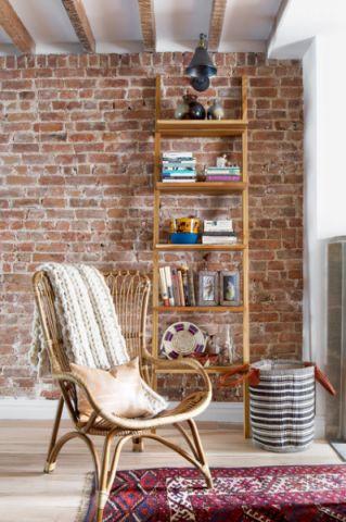 客厅黄色背景墙混搭风格装修图片