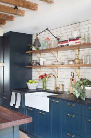 厨房蓝色橱柜混搭风格装饰设计图片