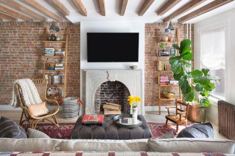 客厅咖啡色混搭风格装潢设计图片