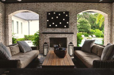 阳台灰色背景墙混搭风格装饰图片