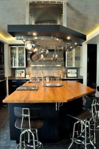 厨房黑色橱柜混搭风格装饰设计图片