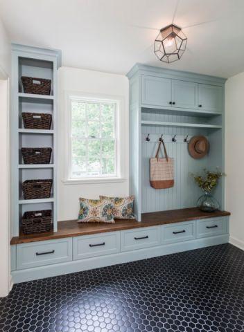 衣帽间蓝色橱柜混搭风格装修设计图片
