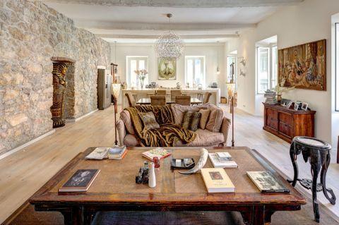 客厅彩色背景墙混搭风格装饰设计图片