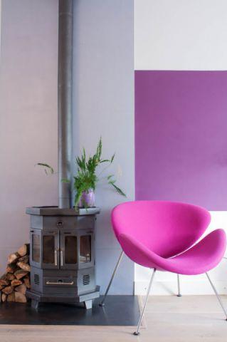 客厅紫色背景墙混搭风格装潢设计图片