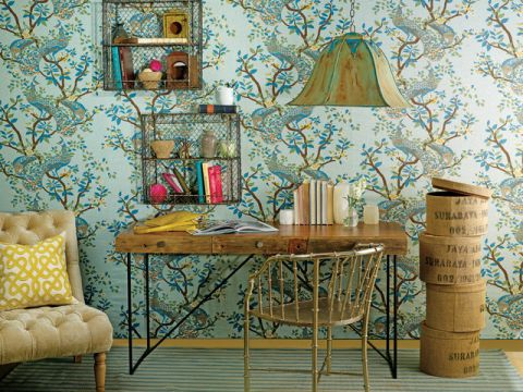 书房背景墙混搭风格装修图片