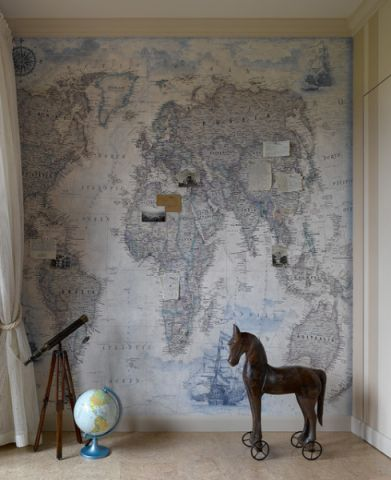 儿童房背景墙混搭风格装潢效果图