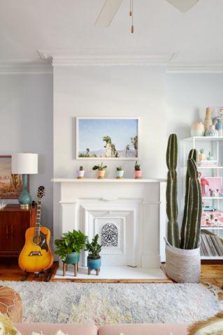 客厅白色照片墙混搭风格装潢效果图