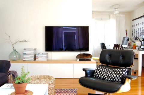 客厅白色背景墙混搭风格装修效果图