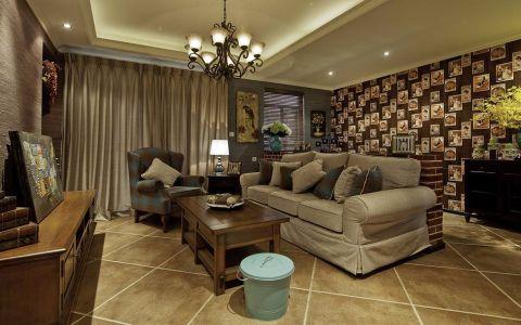 云锦城95平米美式乡村风格二居室装修效果图
