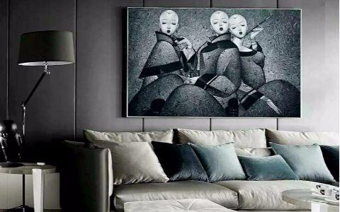 客厅灰色背景墙简约风格装饰图片