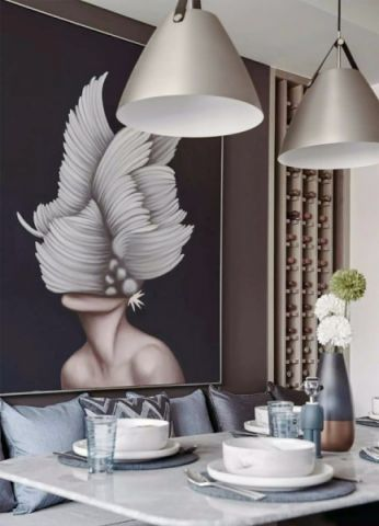 餐厅灰色细节简约风格装饰设计图片