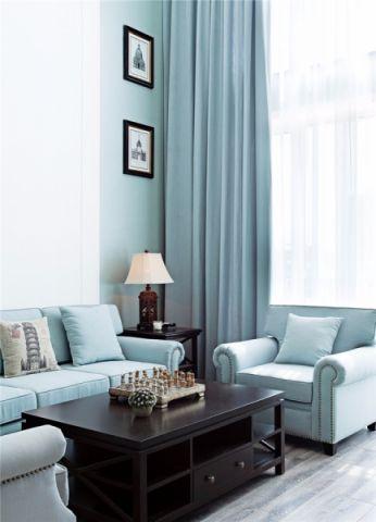 客厅窗帘美式风格装修图片