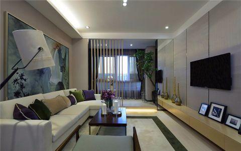 客厅米色隔断现代简约风格装修效果图
