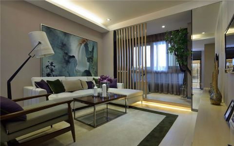 客厅米色背景墙现代简约风格装潢效果图