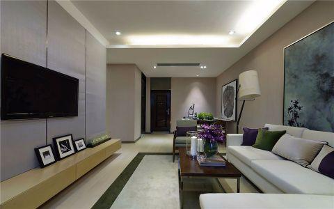 客厅紫色照片墙现代简约风格装修设计图片