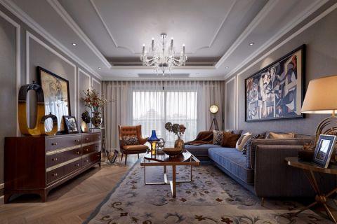 绿地gic130平米三室新古典风格效果图