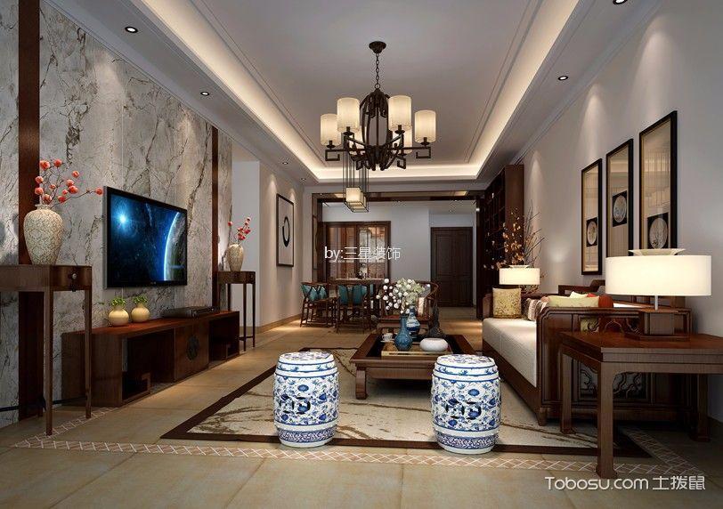 雅居乐伯爵山120平中式三居室装修效果图