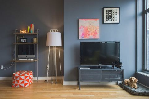 客厅灰色背景墙现代风格装修图片