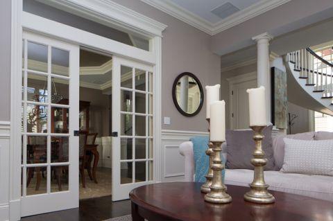 客厅白色推拉门现代风格装修图片