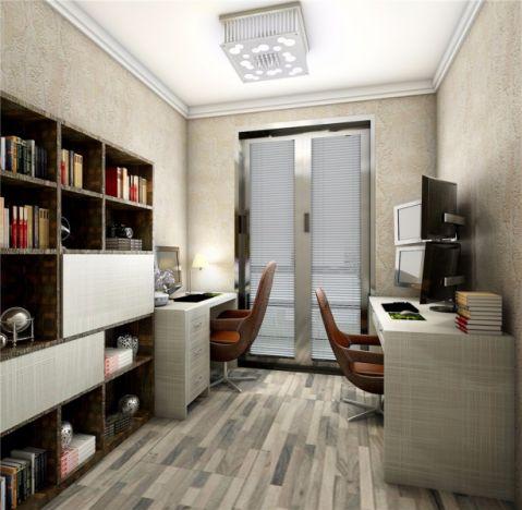 书房推拉门简约风格装潢效果图