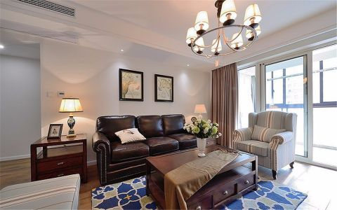 康尔苑84平美式三居室装修效果图