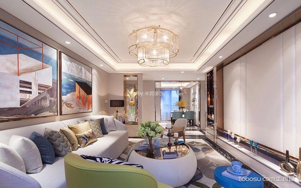 美式风格113平米三室两厅新房装修效果图