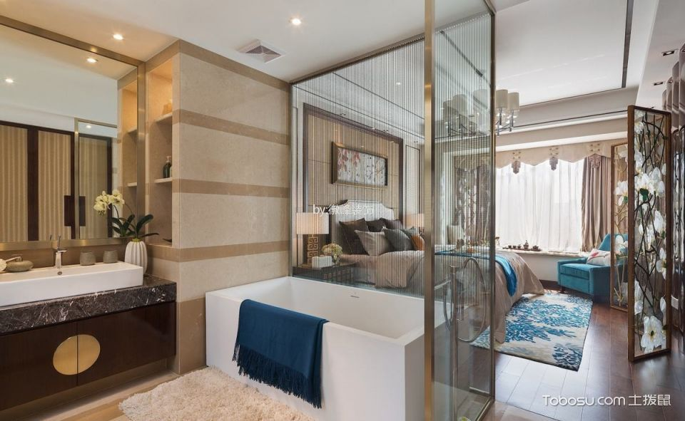 卫生间 隔断_中冶德贤公馆136平方中式风格公寓设计效果图