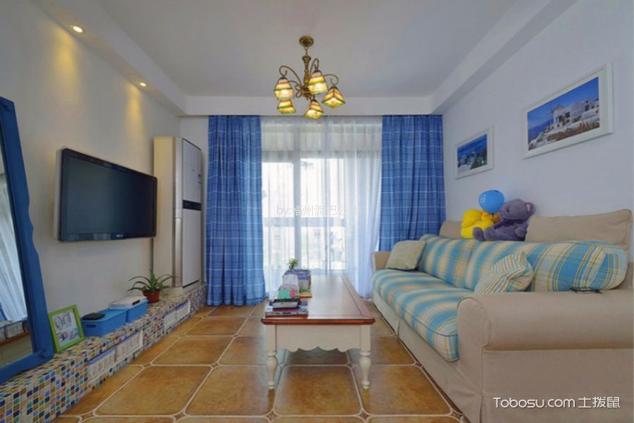 世欧王庄96平地中海风格三室一厅装修效果图