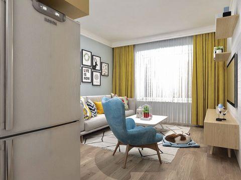 客厅窗帘北欧风格装修图片