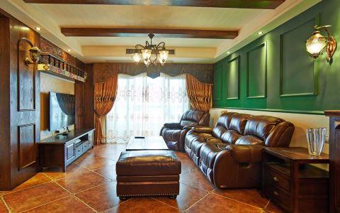美式风格126平米三室两厅新房装修效果图