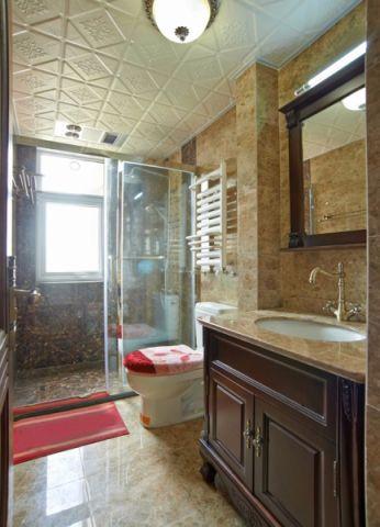 卫生间洗漱台美式风格效果图