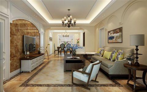 名门华府115平美式风格三居室装修效果图