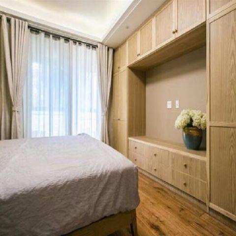 卧室黄色背景墙日式风格装饰效果图