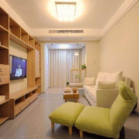 客厅黄色吊顶日式风格装潢效果图