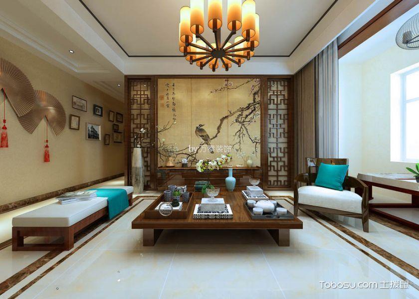 泰安长城一品134平新中式风格三居室装修效果图
