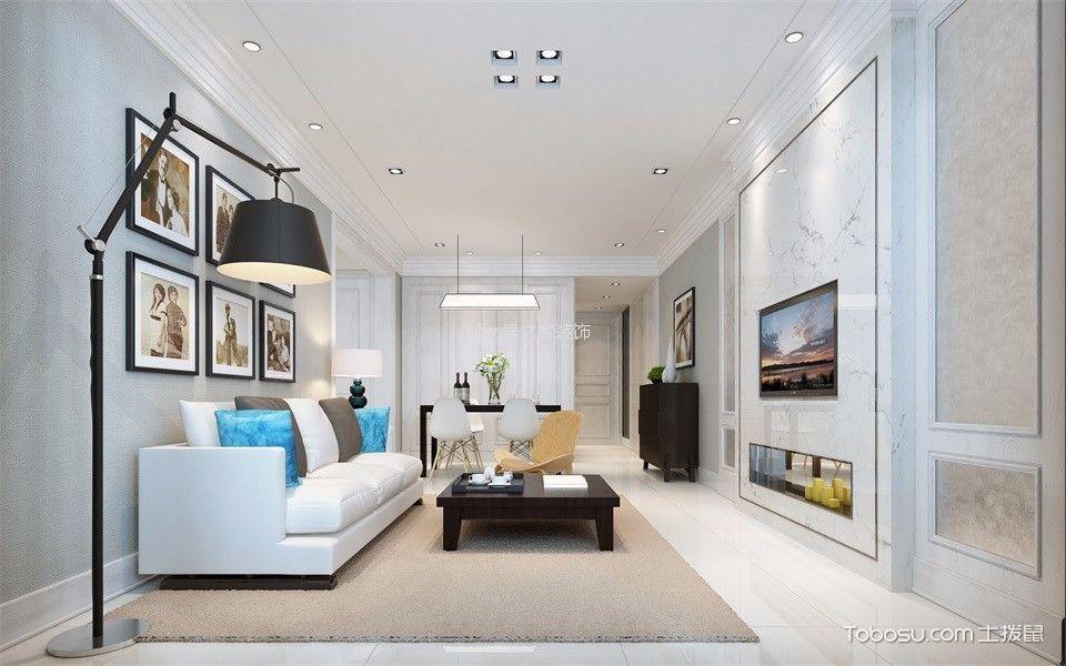 瑞升橡树林96㎡现代风格两室两厅两卫装修效果图