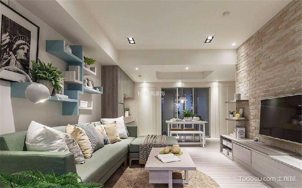 富力尚悦居104平米田园风格3室2厅2卫装修效果图
