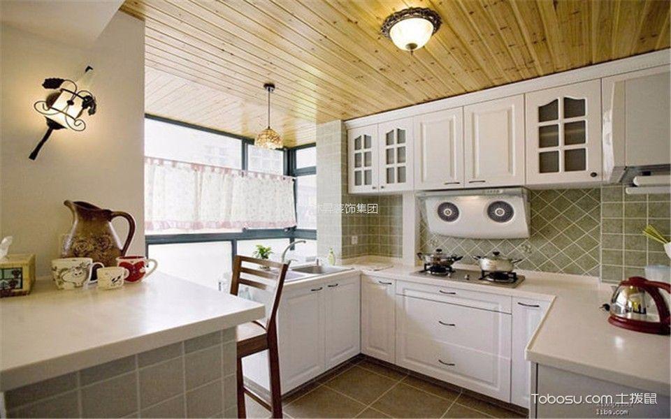 厨房 橱柜_金地国际花园135平田园风格四居装修效果图