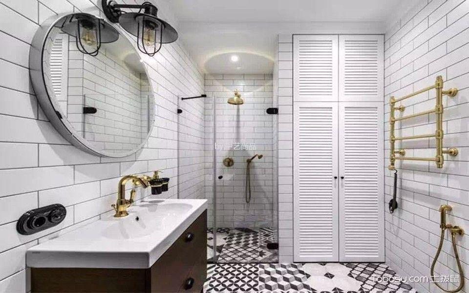 卫生间 背景墙_90平简约风格二居室装修效果图