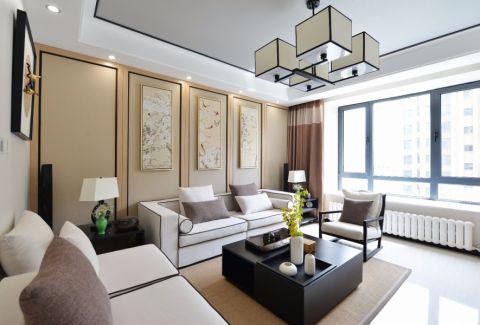 新中式风格120平米楼房室内装修效果图
